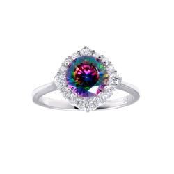 Round Mystic Topaz CZ Halo Tapered Ring