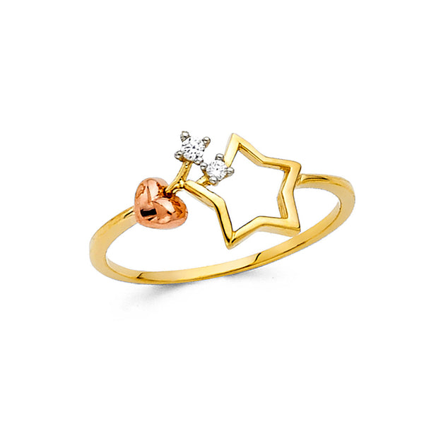 Open Star and Heart Ring