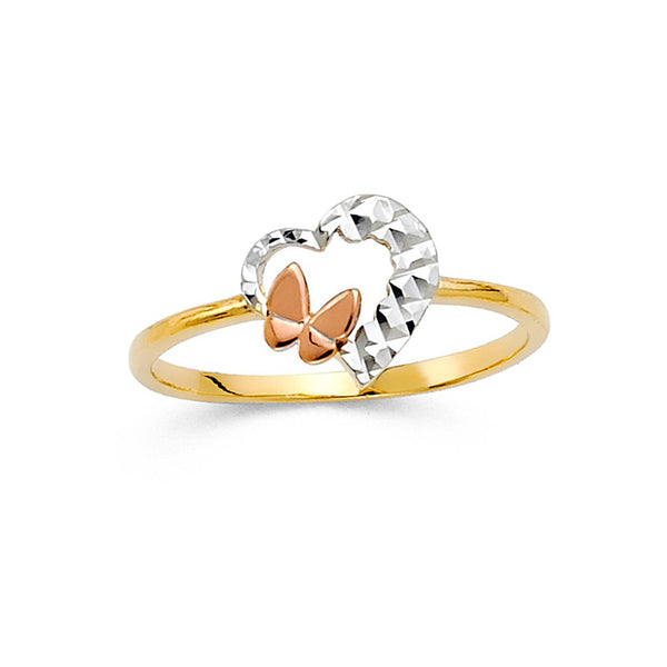 Heart Butterfly Three Tone Ring