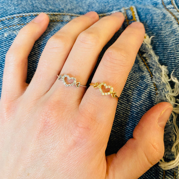 Open Heart CZ Ring