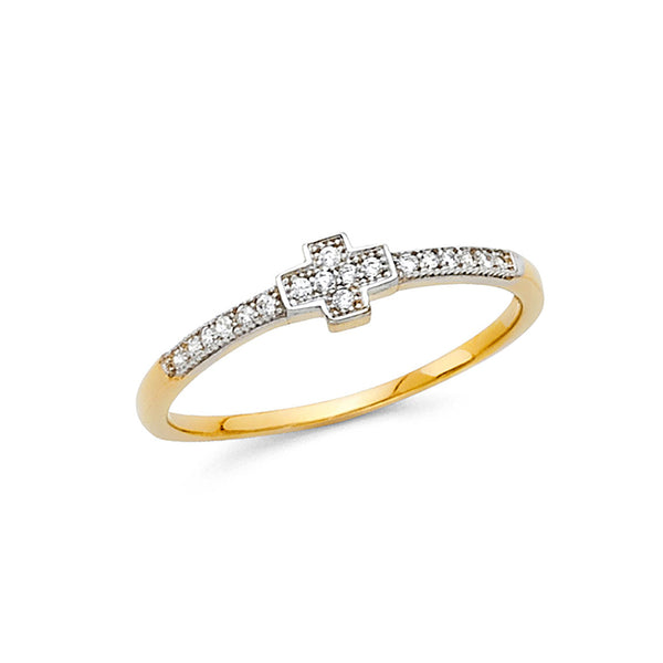 White Cross CZ Ring