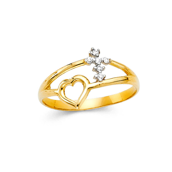 Open Heart & Cross Split Ring