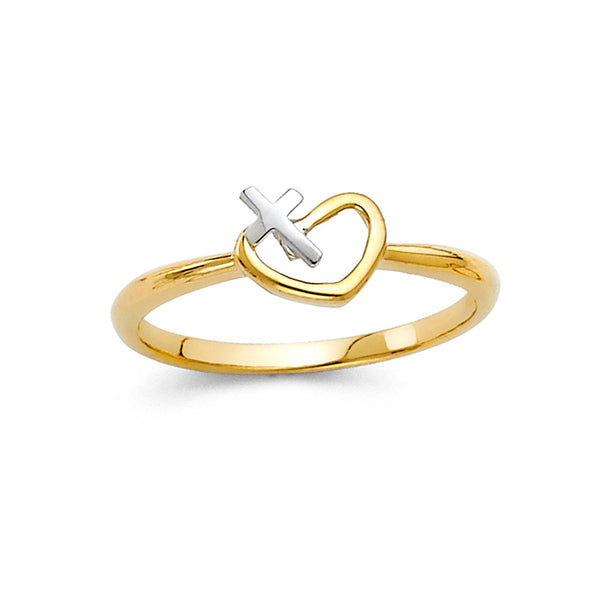 Open Heart & Cross Ring