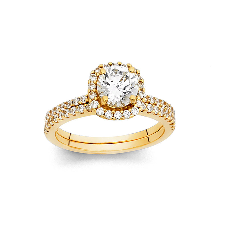 Round CZ Halo Ring Set
