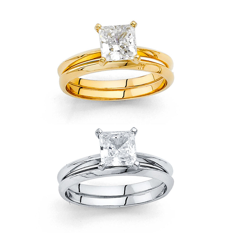Princess CZ Solitaire Wedding Ring Set