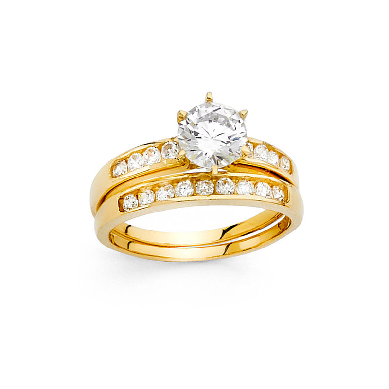 Round CZ Solitaire Wedding Ring Set