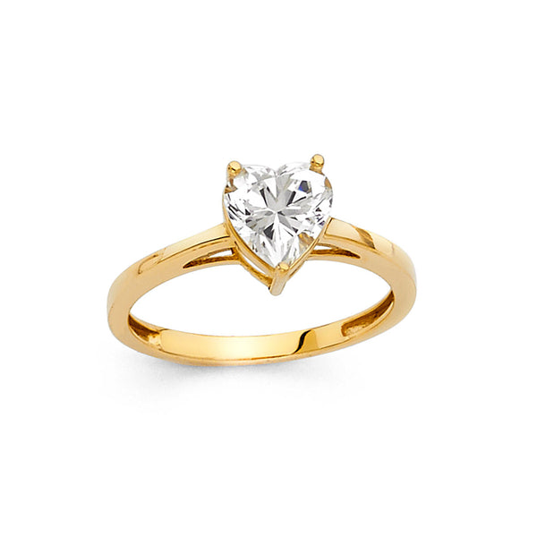 Heart CZ Solitaire Ring