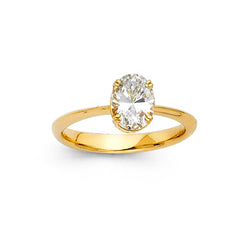 Oval CZ Solitaire Tapered Ring