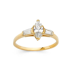 Marquise CZ Side Stone Ring