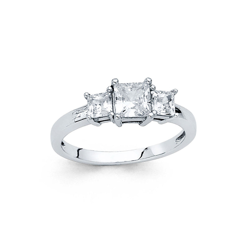 Princess CZ Side Stone Ring