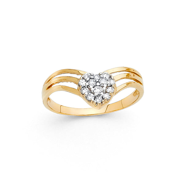 CZ Filled Heart Split Ring