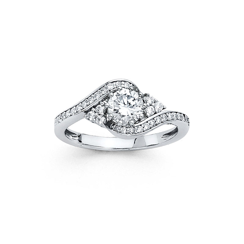Round CZ Solitaire Bypass Ring