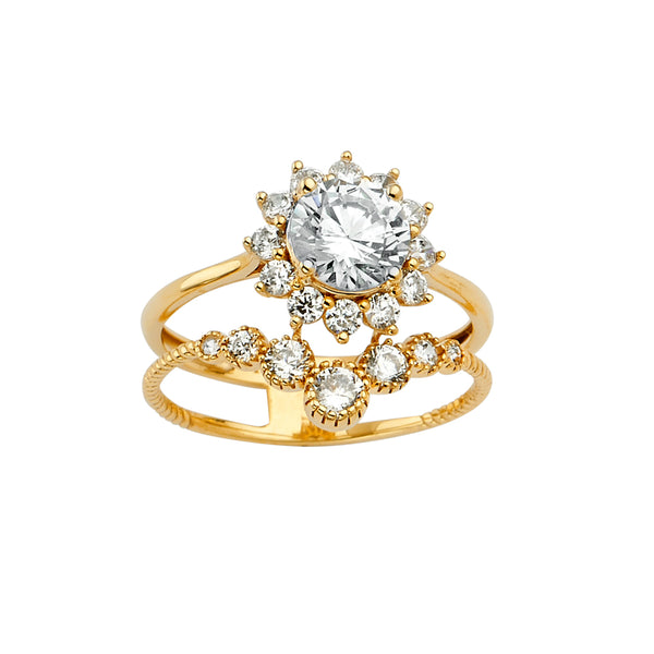 Flower CZ Double Band Ring
