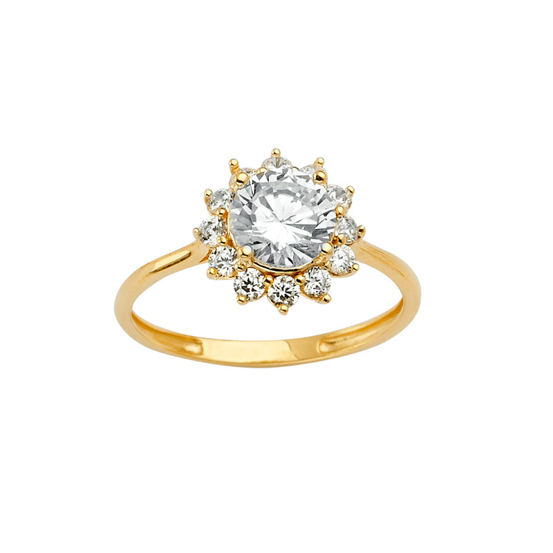 Round CZ Flower Ring