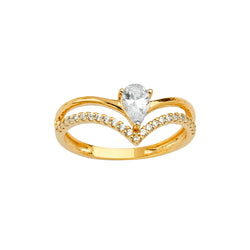 Pear CZ Split Ring