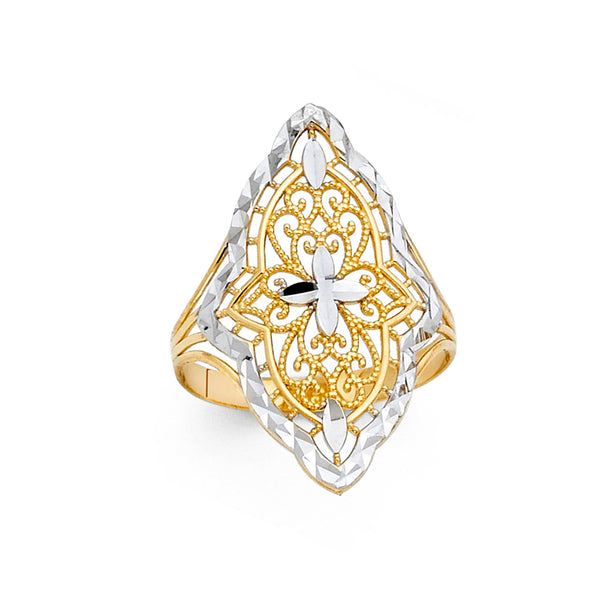 Cross Filigree Pattern Ring