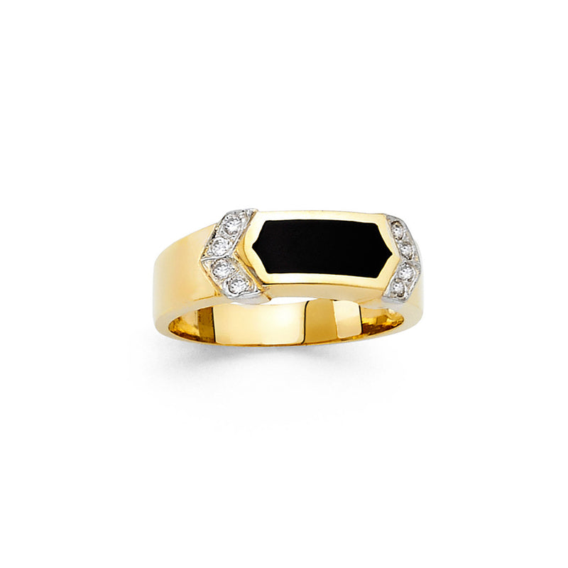 Hexagon Onyx CZ Ring