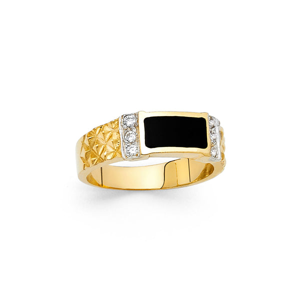 Rectangle Onyx CZ Ring