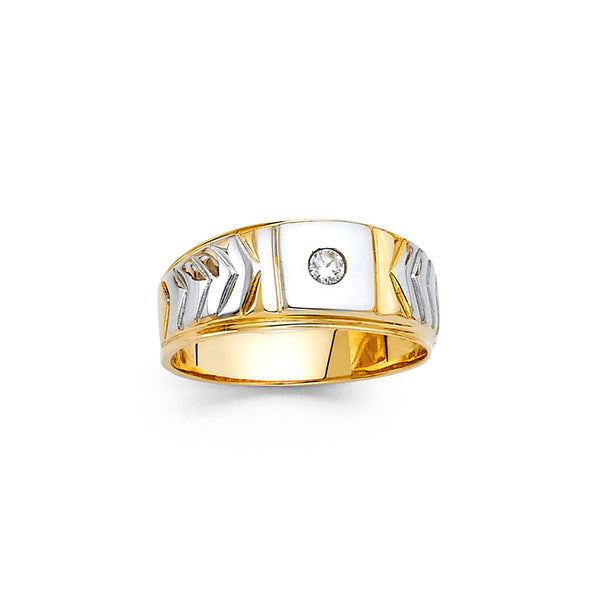 Flush Round CZ Two Tone Ring