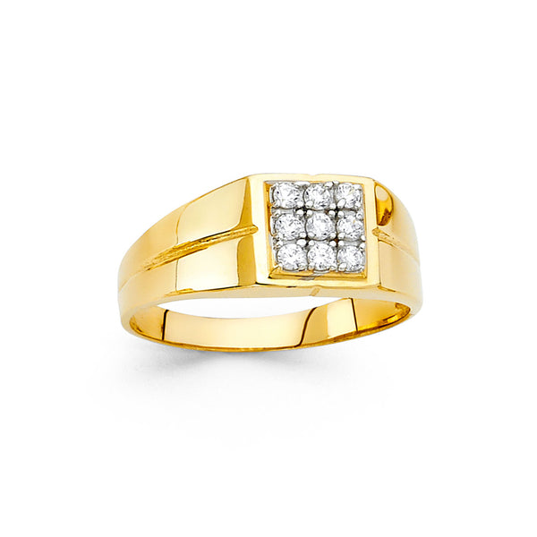 Square CZ Cluster Ring