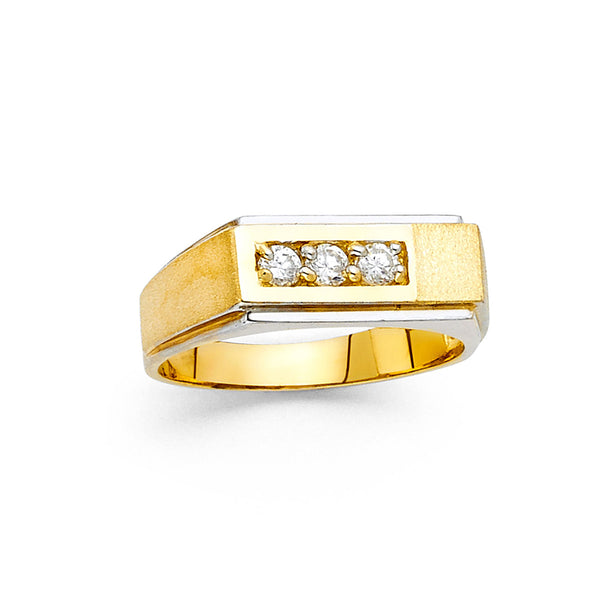 Flat CZ Stepped Edge Ring