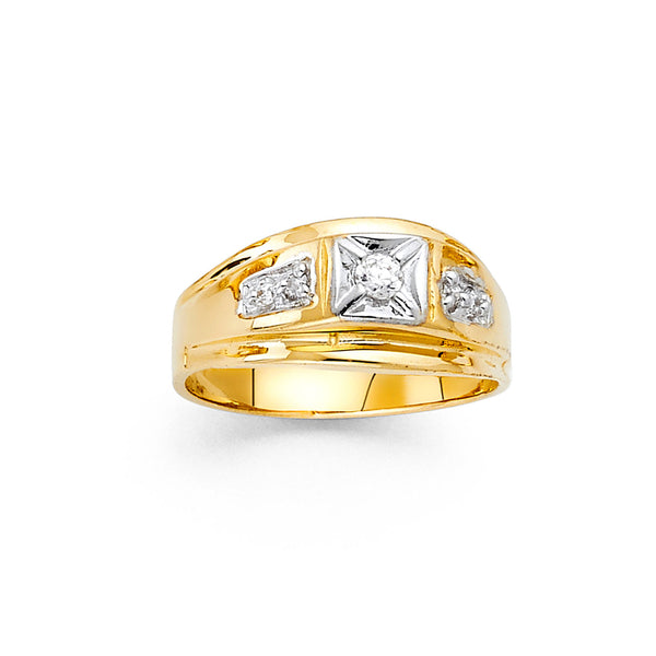 Round CZ Two Tone Ring