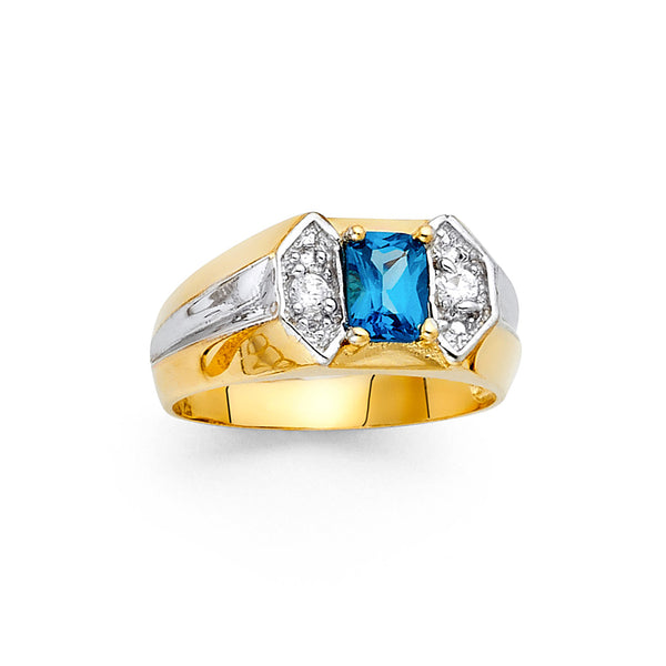 Cushion Cut Blue CZ Ring