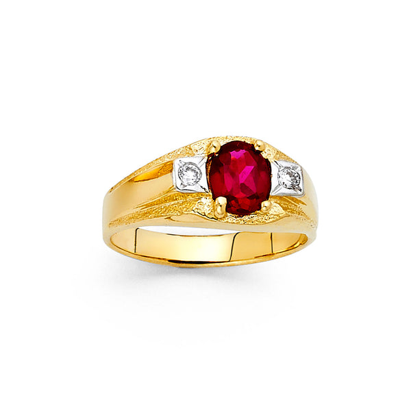 Oval Red CZ Ring