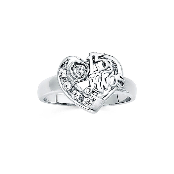 Quince Heart and Flower CZ Ring
