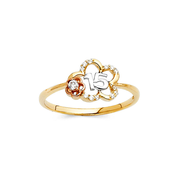 Quince Open Flower CZ Ring
