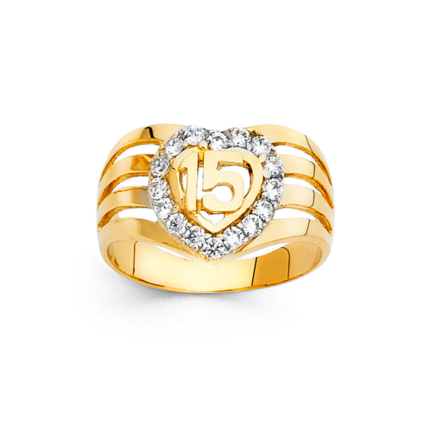 Quince Heart CZ Eternity Split Ring
