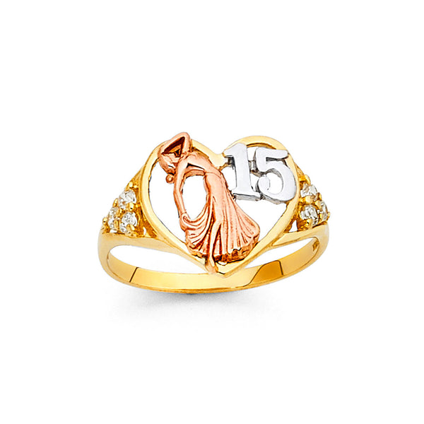 Quince Dancer and Heart CZ Ring