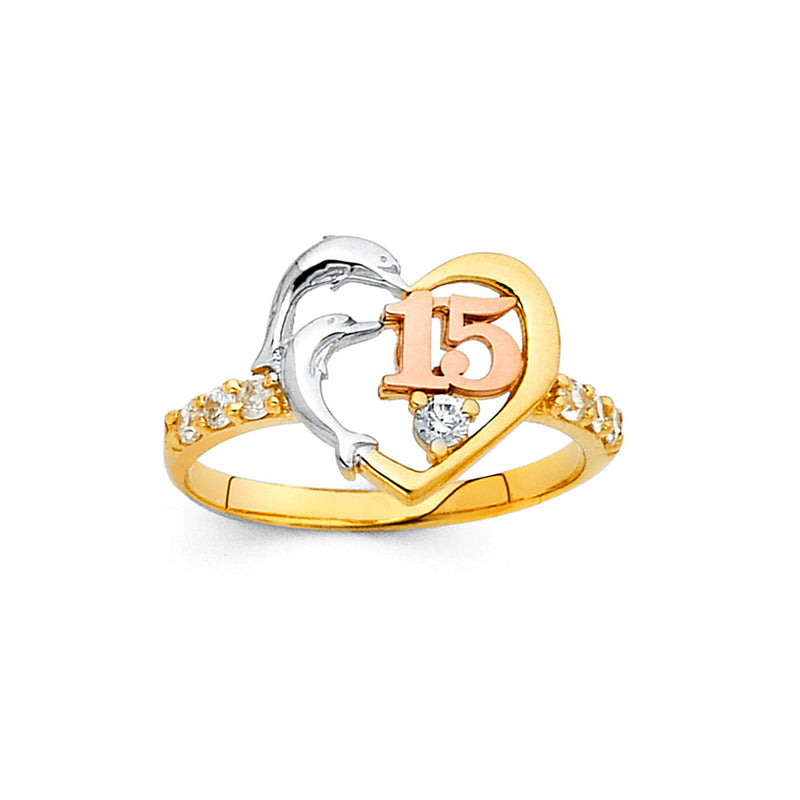 Quince Dolphin and Heart CZ Ring