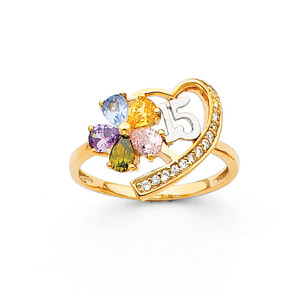 Quince Flower Heart CZ Ring
