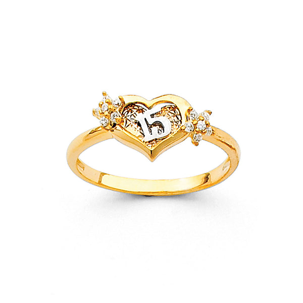 Quince Heart Flower CZ Ring
