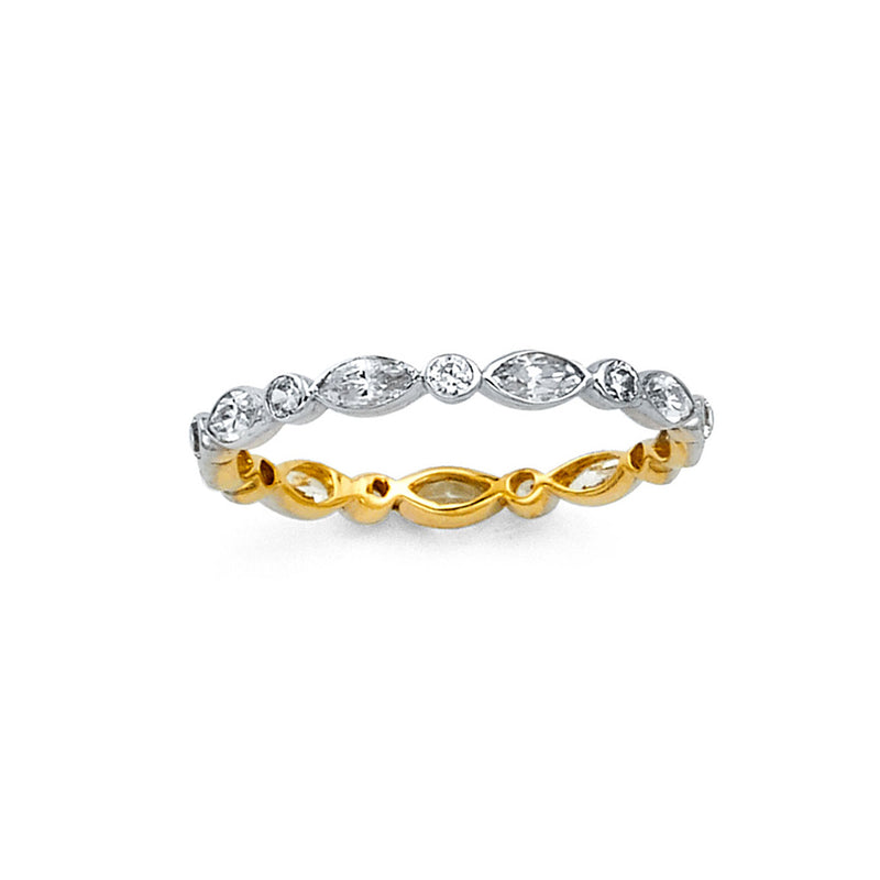 Two Tone CZ Eternity Band - 2 mm