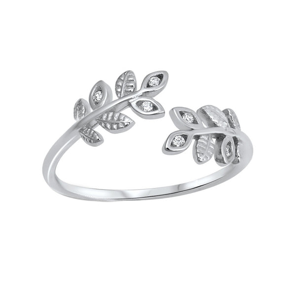 Leaf CZ Open Ring