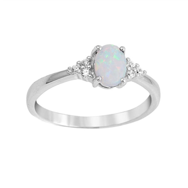 Oval Opal Side Stone Ring