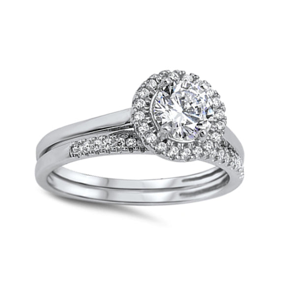 Round CZ Halo Wedding Ring Set