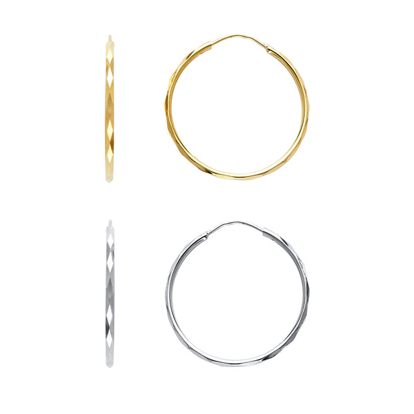 Diamond Cut Round Tube Hoops