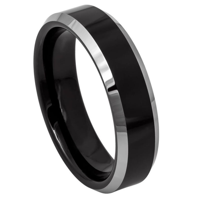 Black Steel Beveled Edge Band