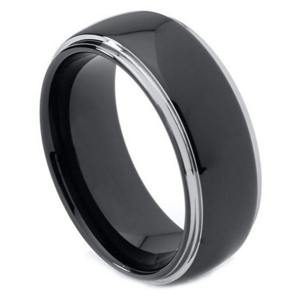 Black Steel Stepped Edge Band