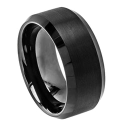 Black Flat Beveled Edge Band - Brushed