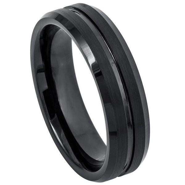 Black Grooved Center Beveled Edge Band