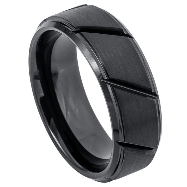 Black Diagonal Groove Stepped Edge Band