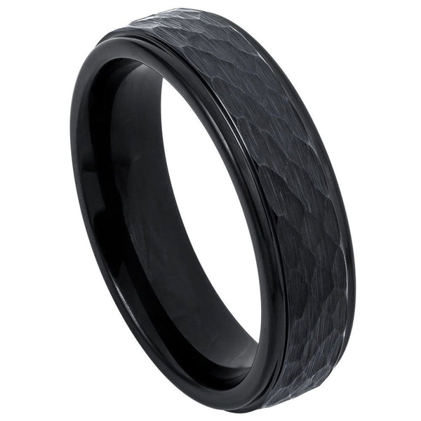 Black Hammered Stepped Edge Band