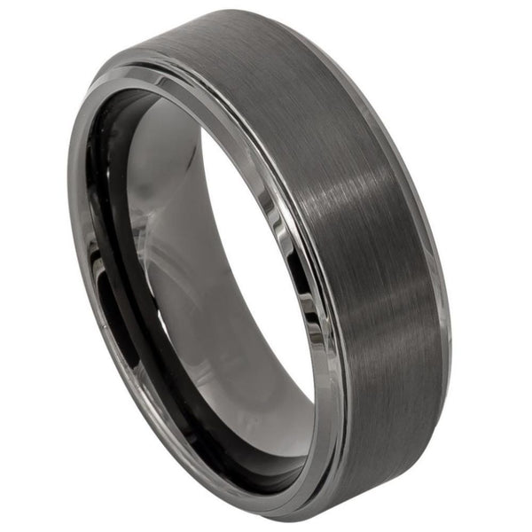 Gun Metal Brushed Stepped Edge Band