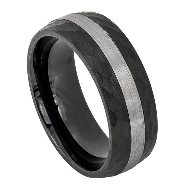 Black Stripe Hammered Edge Band