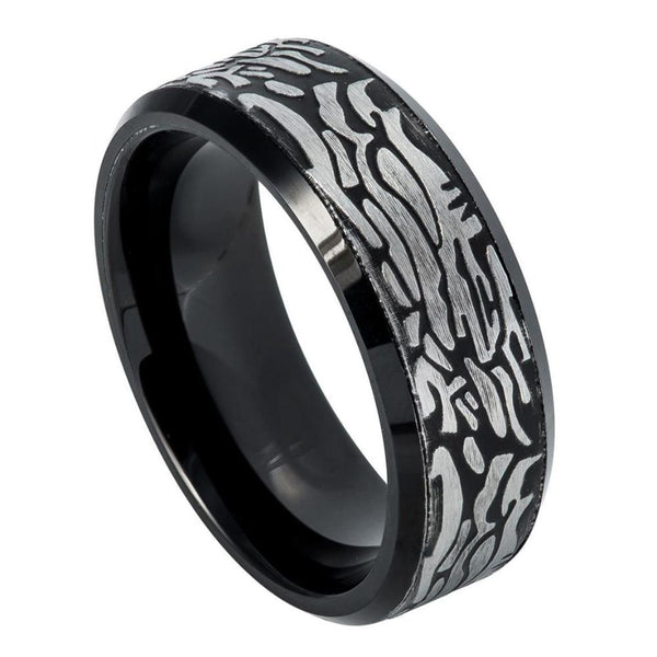 Black Layer Carved Beveled Edge Band
