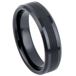 Black Brushed Center Beveled Edge Band